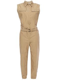 Brunello Cucinelli Woman Belted Cotton-blend Jumpsuit Sand