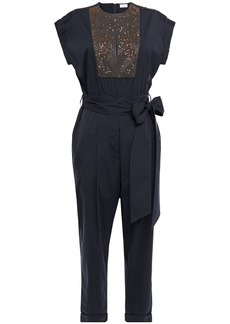 Brunello Cucinelli Woman Cropped Belted Embellished Cotton-blend Poplin Jumpsuit Navy