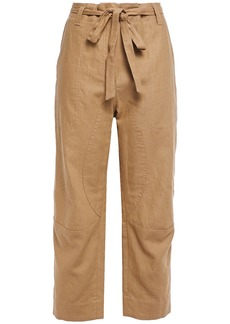 Brunello Cucinelli Woman Cropped Belted Linen And Cotton-blend Wide-leg Pants Tan