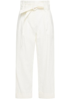Brunello Cucinelli Woman Cropped Belted Pleated Drill Wide-leg Pants Cream