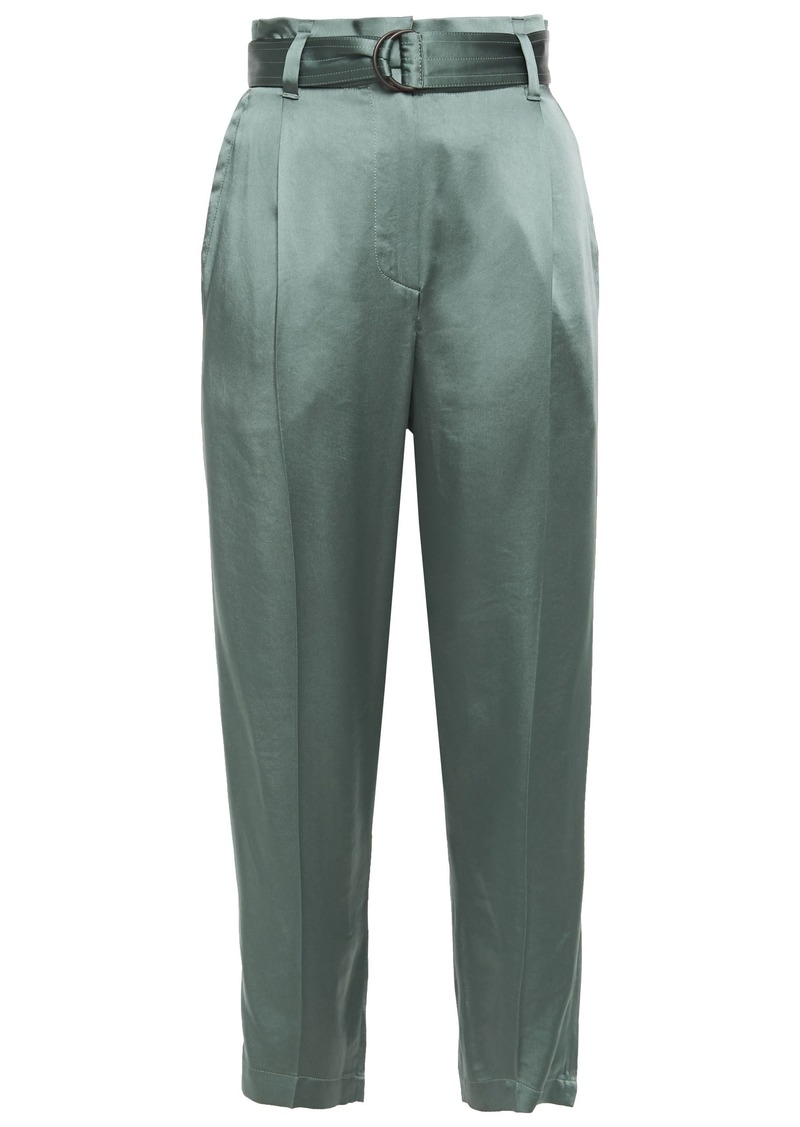 Brunello Cucinelli Woman Cropped Belted Satin Tapered Pants Grey Green
