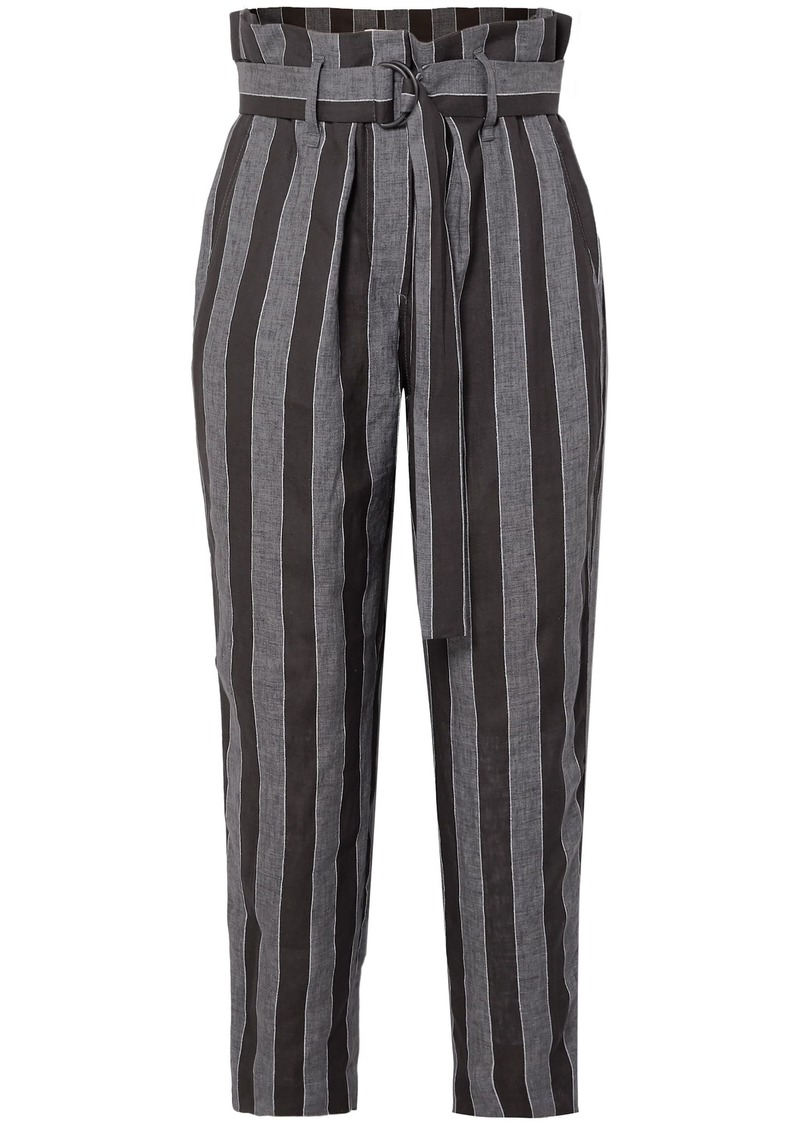 Brunello Cucinelli Woman Cropped Belted Striped Linen Straight-leg Pants Black
