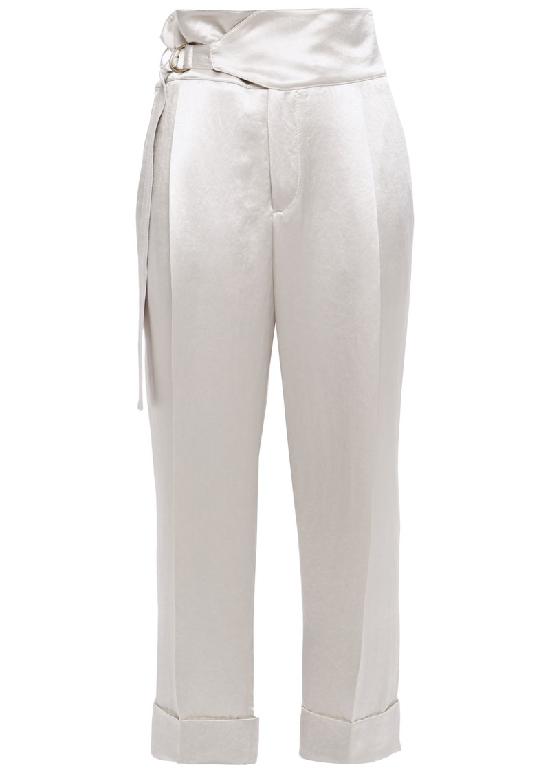 Brunello Cucinelli Woman Cropped Buckled Crinkled-satin Tapered Pants Off-white