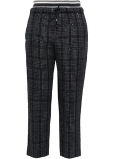 Brunello Cucinelli Woman Cropped Checked Linen Tapered Pants Charcoal