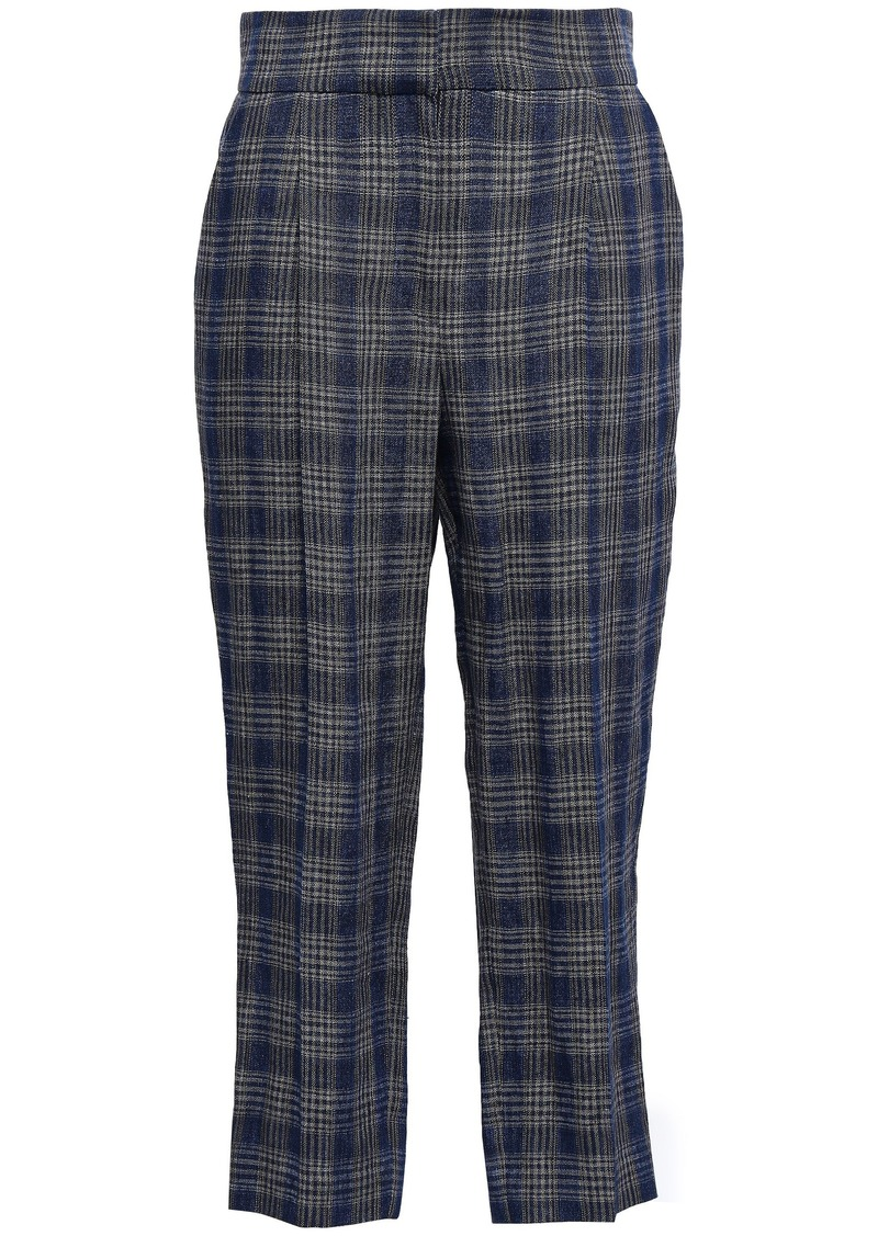 Brunello Cucinelli Woman Cropped Checked Linen Tapered Pants Navy