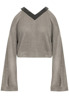 Brunello Cucinelli Woman Cropped Cold-shoulder Embellished Linen And Silk-blend Sweater Gray