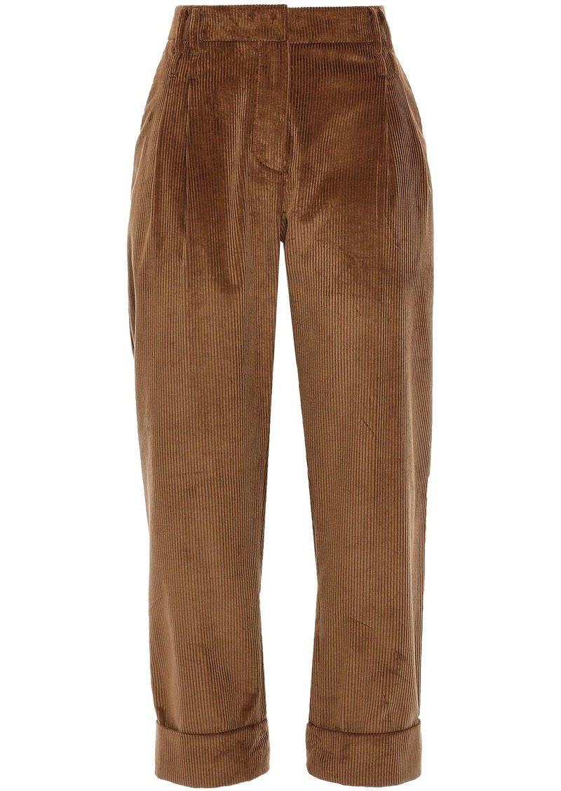 Brunello Cucinelli Woman Cropped Cotton And Cashmere Blend Corduroy Straight-leg Pants Camel
