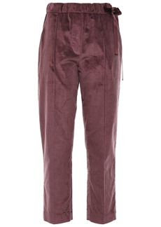 Brunello Cucinelli Woman Cropped Cotton And Cashmere-blend Corduroy Tapered Pants Grape