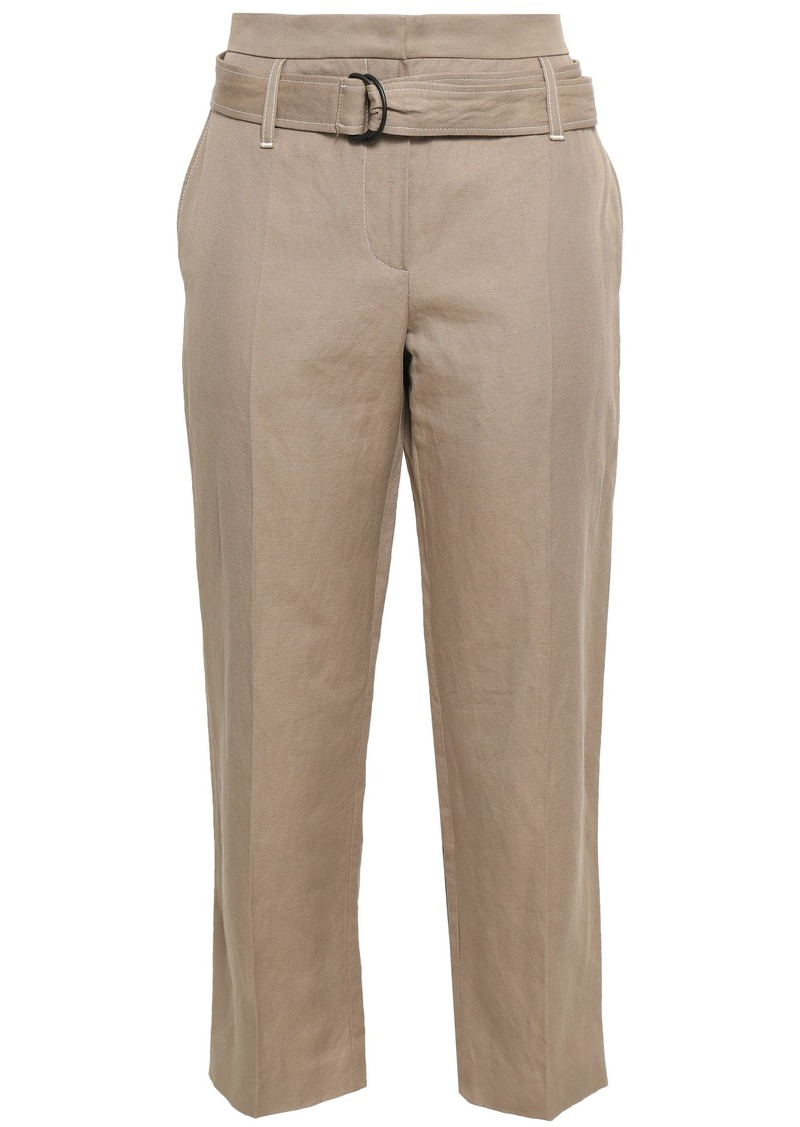 Brunello Cucinelli Woman Cropped Cotton And Linen-blend Gabardine Straight-leg Pants Sand