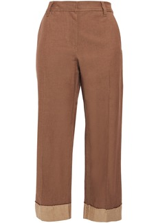 Brunello Cucinelli Woman Cropped Cotton And Linen-blend Twill Wide-leg Pants Brown