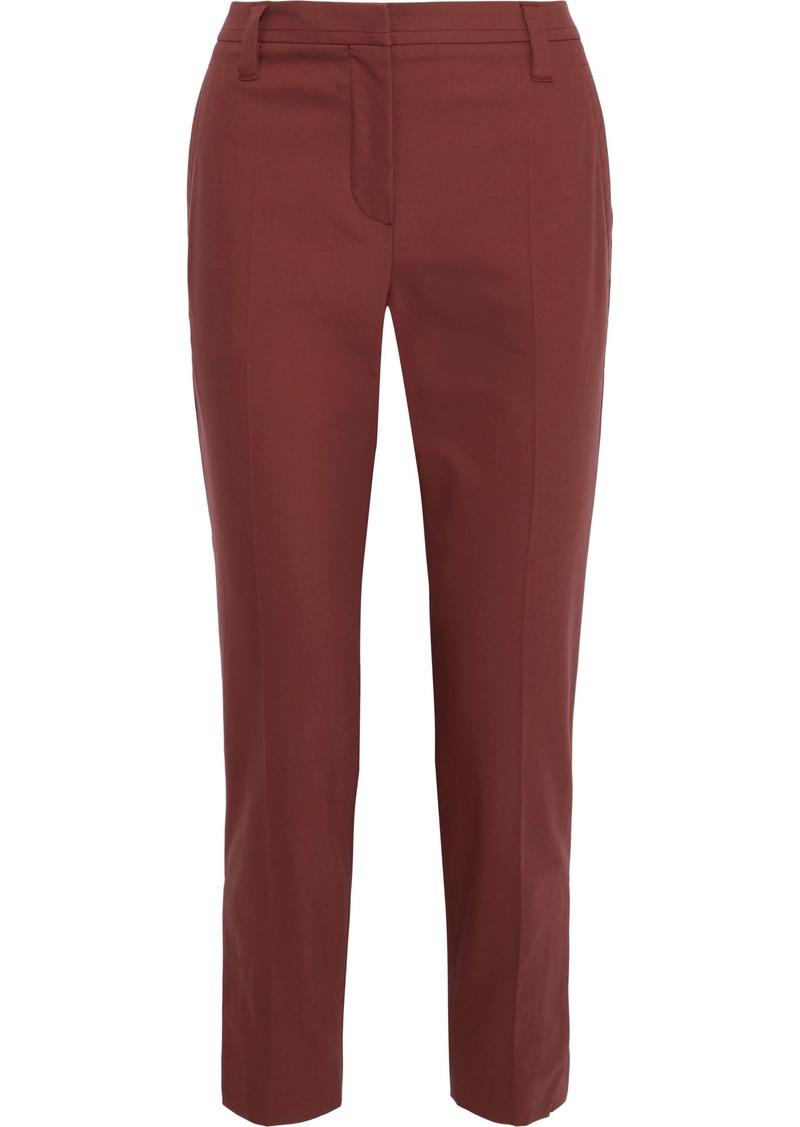 Brunello Cucinelli Woman Cropped Cotton-blend Twill Slim-leg Pants Brick