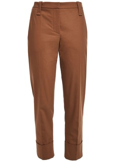 Brunello Cucinelli Woman Stretch-cotton Tapered Pants Light Brown
