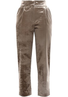 Brunello Cucinelli Woman Cropped Cotton-blend Velvet Tapered Pants Sand
