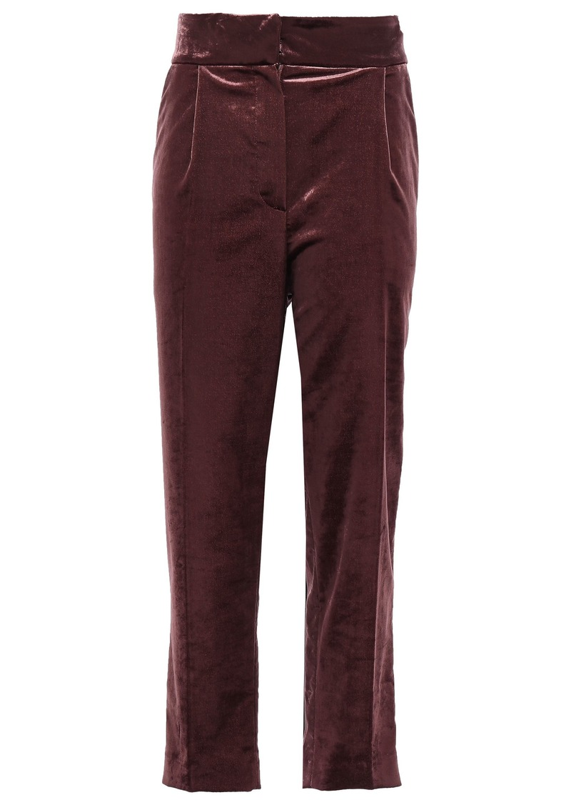 Brunello Cucinelli Woman Cropped Cotton-blend Velvet Tapered Pants Grape