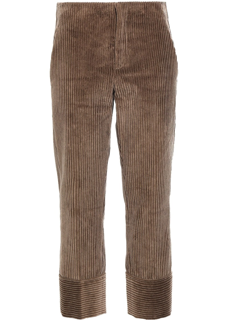 Brunello Cucinelli Woman Cropped Cotton-corduroy Straight-leg Pants Light Brown