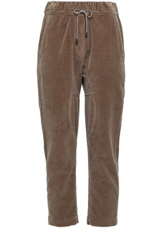 Brunello Cucinelli Woman Cropped Cotton-corduroy Tapered Pants Light Brown