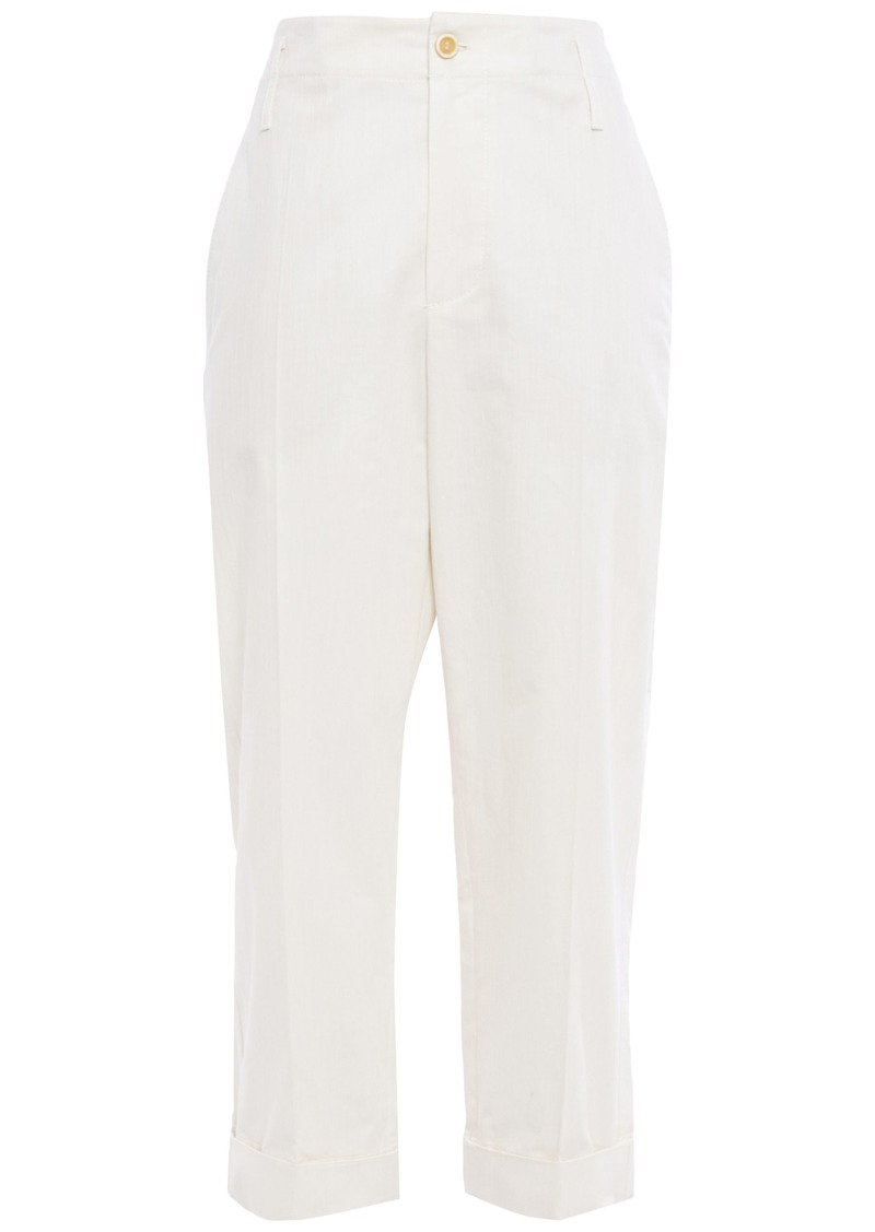 Brunello Cucinelli Woman Cropped Cotton Straight-leg Pants Cream