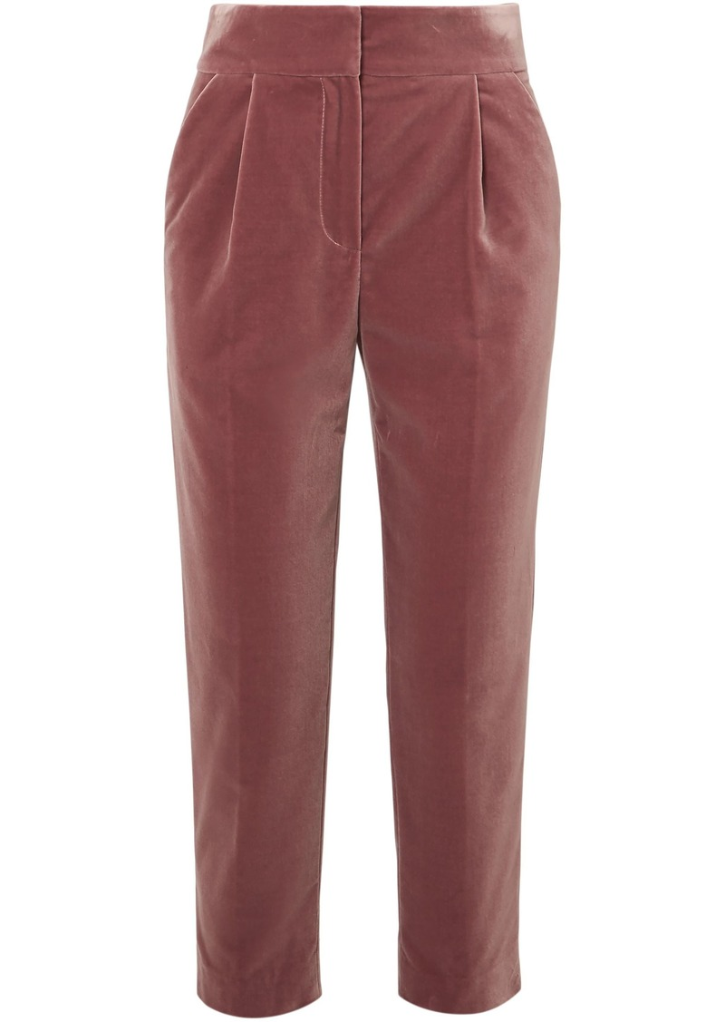 Brunello Cucinelli Woman Cropped Cotton-velvet Straight-leg Pants Antique Rose