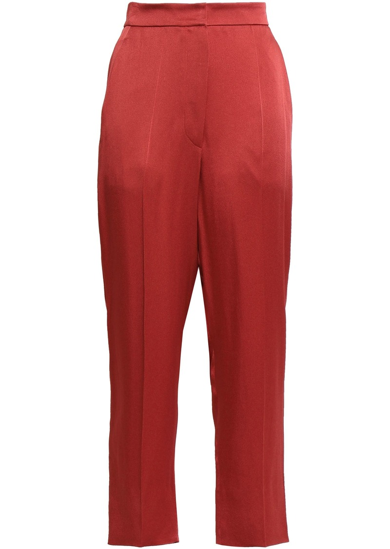 Brunello Cucinelli Woman Cropped Satin-crepe Tapered Pants Claret