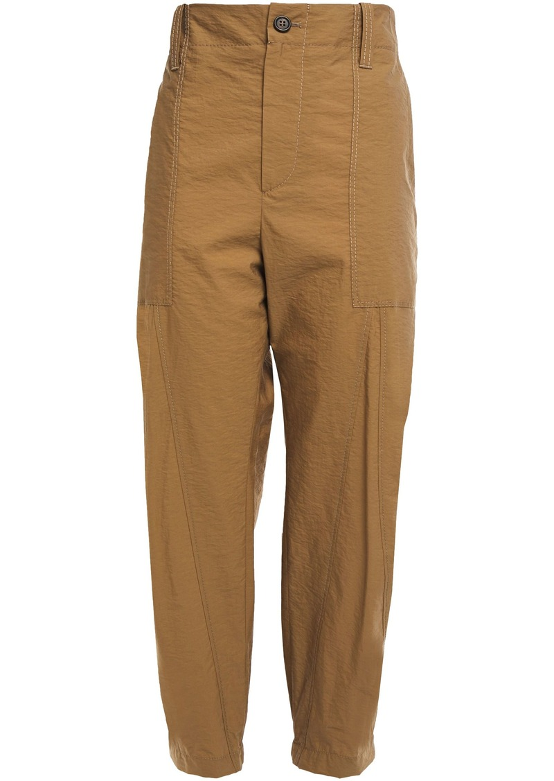 Brunello Cucinelli Woman Cropped Crinkled Cotton-blend Tapered Pants Camel