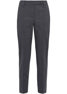 Brunello Cucinelli Woman Cropped Embellished Wool-blend Slim-leg Pants Dark Gray