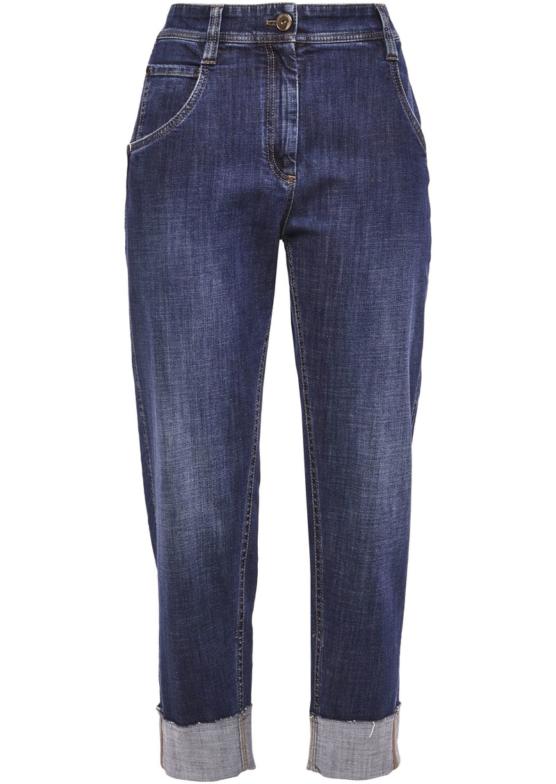 Brunello Cucinelli Woman Cropped Faded High-rise Straight-leg Jeans Mid Denim
