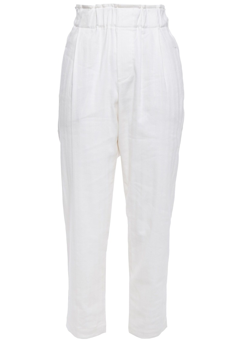 Brunello Cucinelli Woman Cropped Herringbone Cotton-blend Tapered Pants Ivory