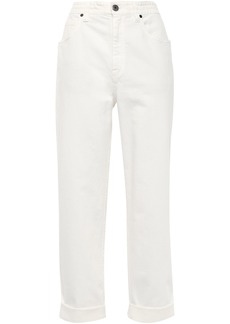 Brunello Cucinelli Woman Cropped High-rise Straight-leg Jeans White
