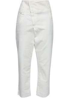 Brunello Cucinelli Woman Cropped High-rise Tapered Jeans Ivory