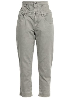 Brunello Cucinelli Woman Cropped Layered High-rise Slim-leg Jeans Stone