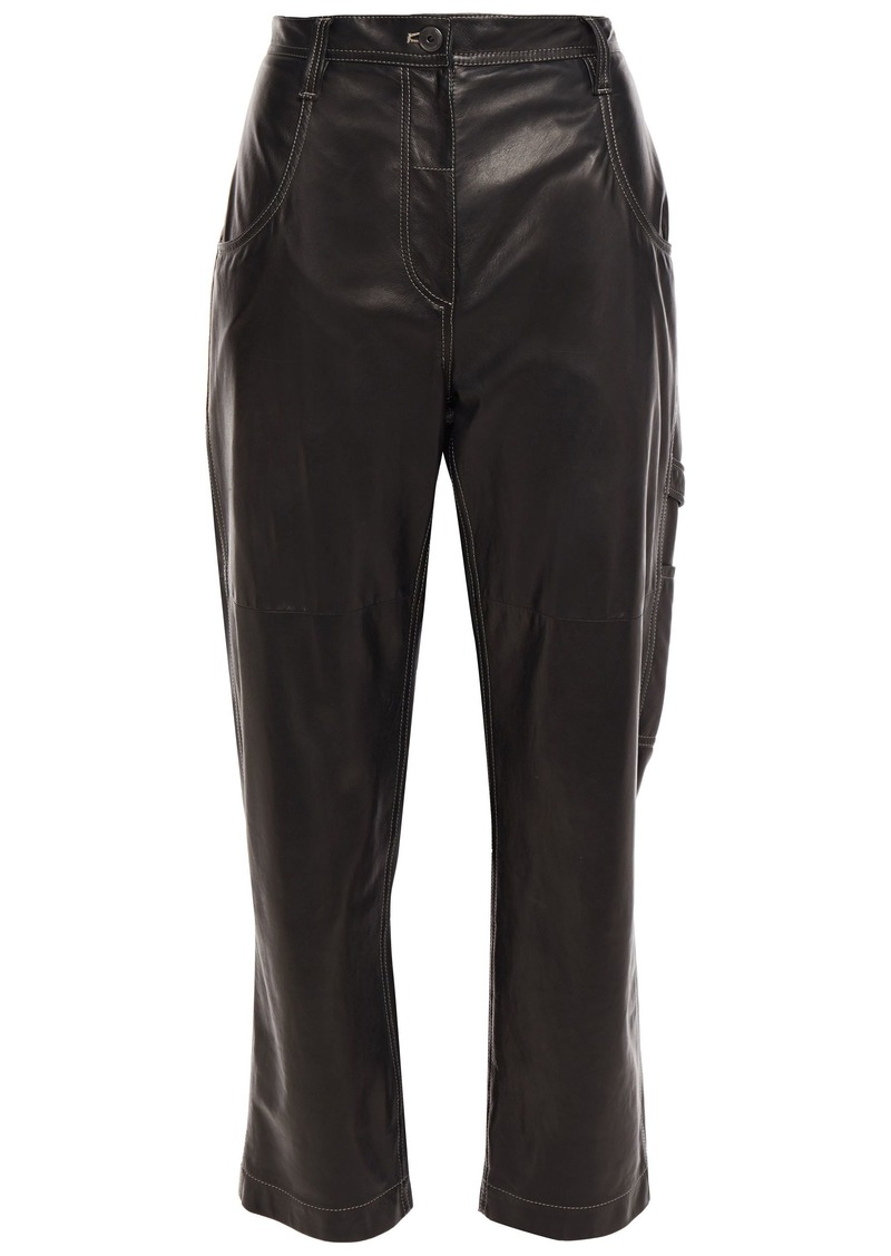 Brunello Cucinelli Woman Cropped Leather Straight-leg Pants Black