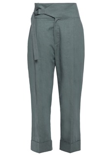 Brunello Cucinelli Woman Cropped Linen And Cotton-blend Straight-leg Pants Grey Green