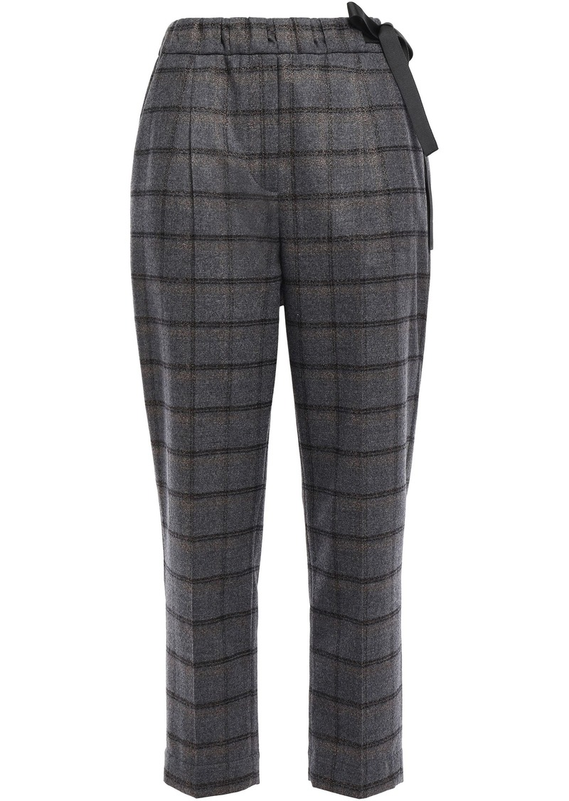 Brunello Cucinelli Woman Cropped Metallic Checked Wool-blend Tapered Pants Anthracite