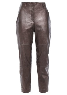 Brunello Cucinelli Woman Cropped Metallic Glossed-leather Slim-leg Pants Bronze