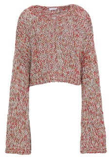 Brunello Cucinelli Woman Cropped Metallic Mélange Knitted Sweater Red