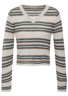 Brunello Cucinelli Woman Cropped Metallic Striped Ribbed-knit Sweater Gray