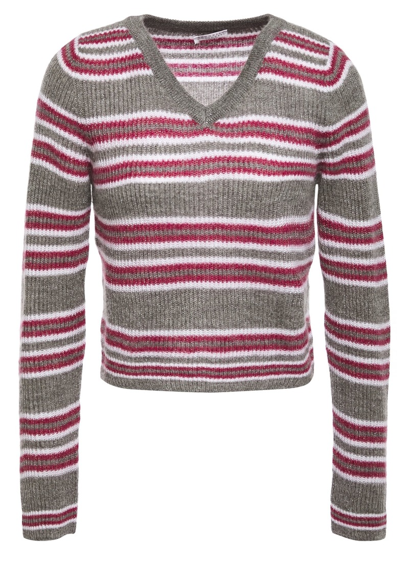 Brunello Cucinelli Woman Cropped Metallic Striped Ribbed-knit Sweater Taupe
