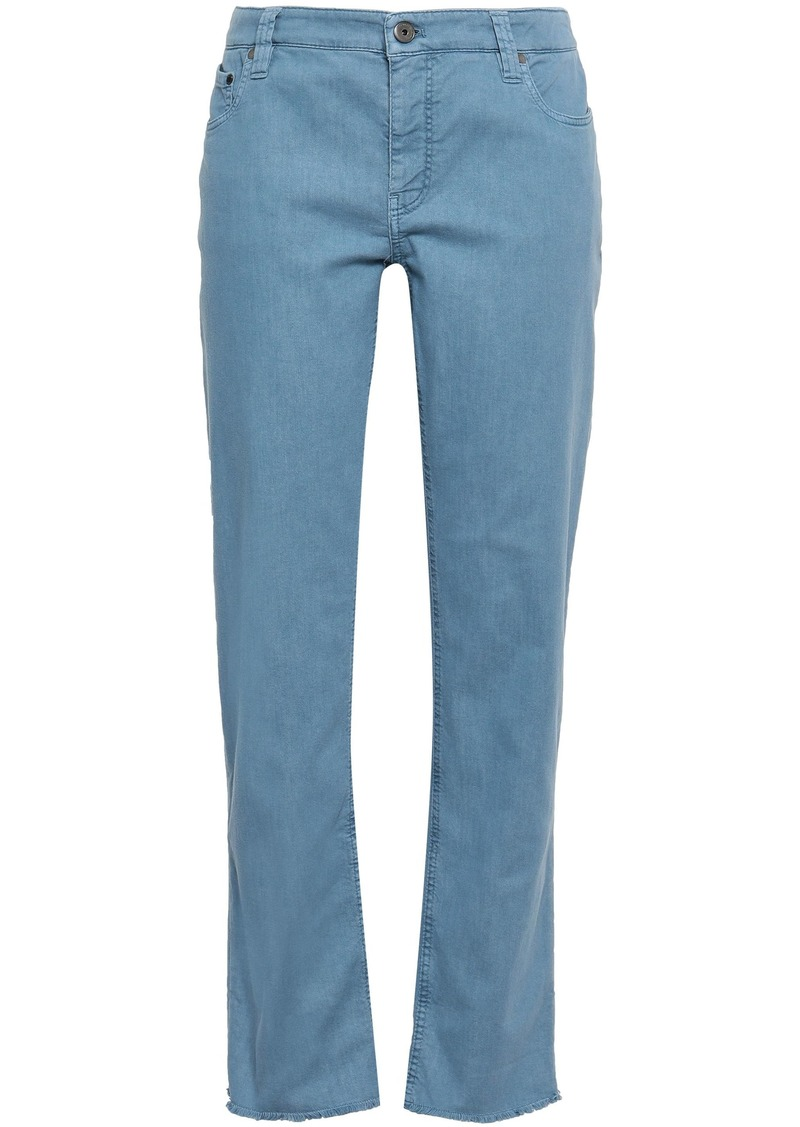 Brunello Cucinelli Woman Cropped Mid-rise Straight-leg Jeans Light Blue