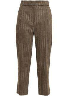 Brunello Cucinelli Woman Cropped Pinstriped Linen-blend Straight-leg Pants Light Brown
