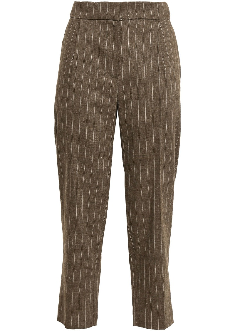 Brunello Cucinelli Woman Cropped Pinstriped Linen-blend Straight-leg Pants Light Brown