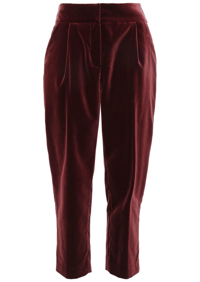 Brunello Cucinelli Woman Cropped Pleated Cotton-velvet Tapered Pants Plum