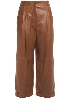 Brunello Cucinelli Woman Cropped Pleated Leather Wide-leg Pants Brown