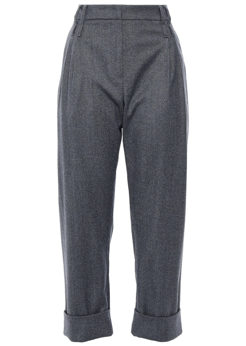 Brunello Cucinelli Woman Cropped Pleated Metallic Wool-blend Straight-leg Pants Gray