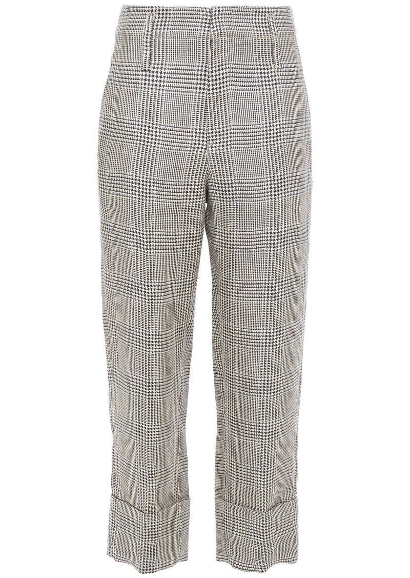 Brunello Cucinelli Woman Cropped Prince Of Wales Checked Linen Straight-leg Pants Taupe