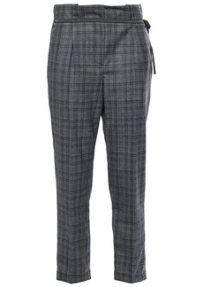 Brunello Cucinelli Woman Cropped Prince Of Wales Checked Wool Straight-leg Pants Gray