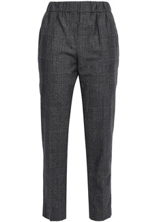 Brunello Cucinelli Woman Cropped Prince Of Wales Checked Wool Tapered Pants Anthracite