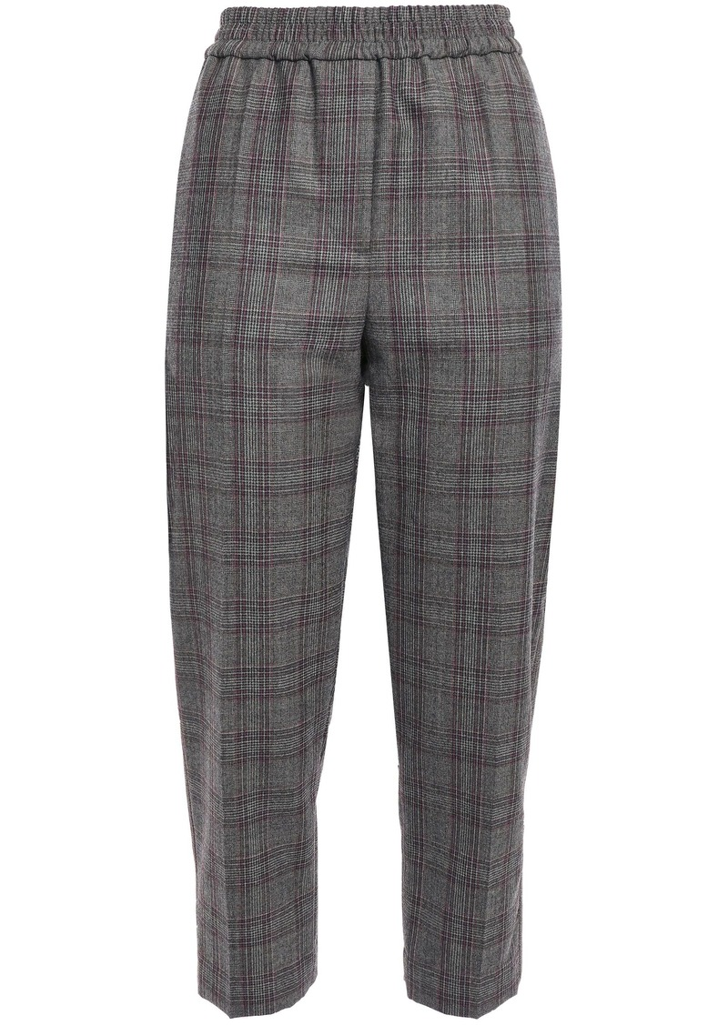Brunello Cucinelli Woman Cropped Prince Of Wales Checked Wool Tapered Pants Dark Gray