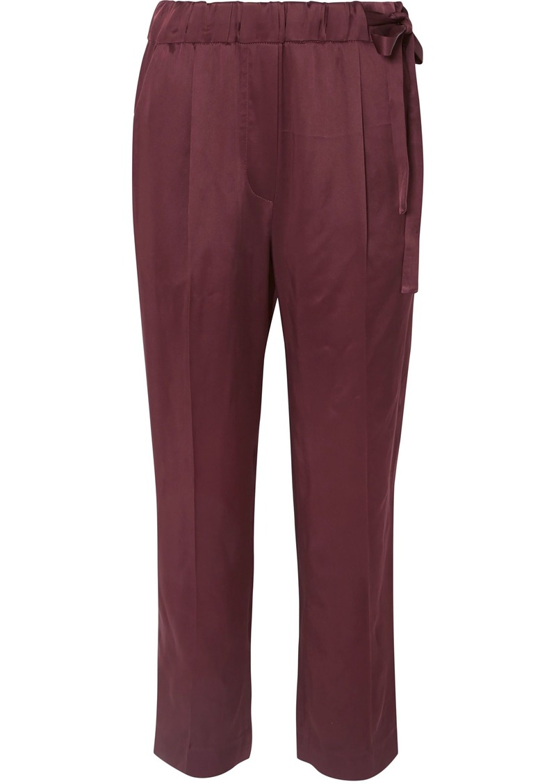 Brunello Cucinelli Woman Cropped Satin Straight-leg Pants Plum
