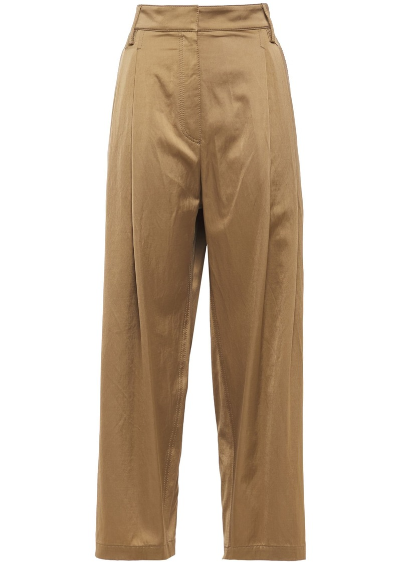 Brunello Cucinelli Woman Cropped Satin Wide-leg Pants Sand