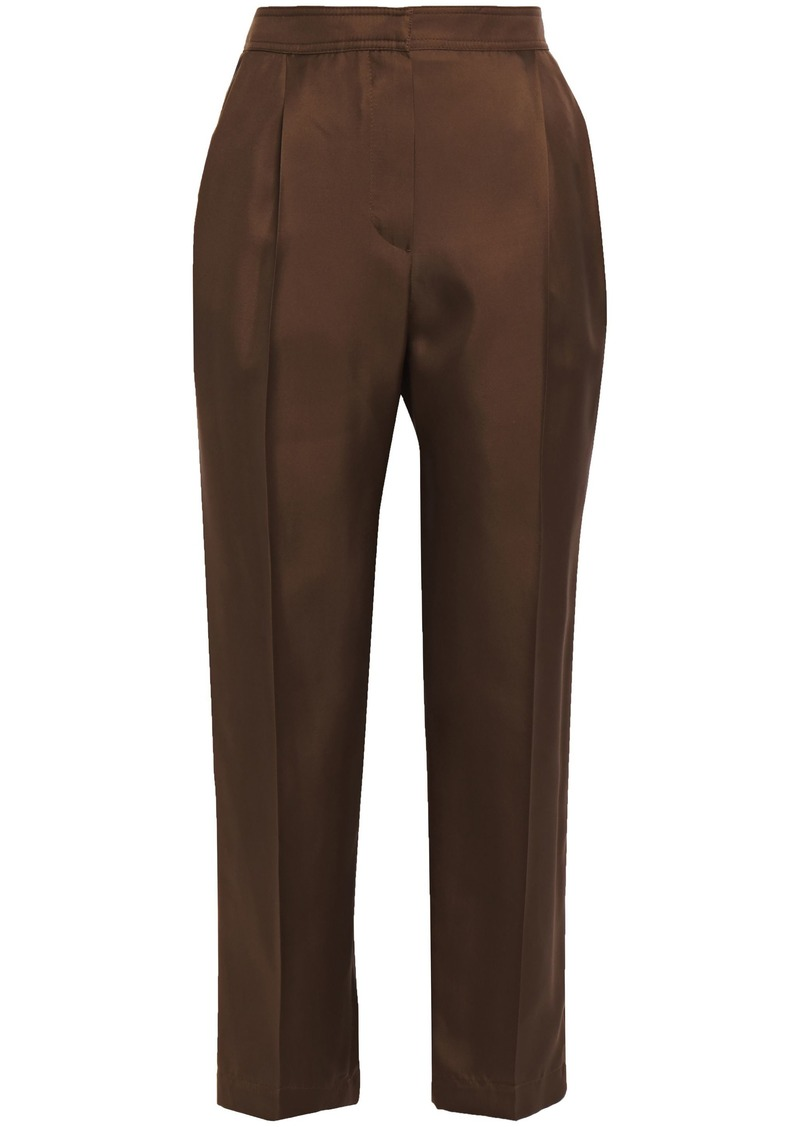 Brunello Cucinelli Woman Cropped Silk-faille Tapered Pants Chocolate